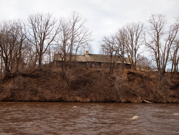 Riverbank erosion at The Charles A. Weyerhaeuser Memorial Museum, Little Falls, MN. , March 2016.