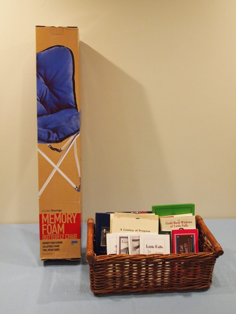 Morrison County History Reading Package (basket of books from MCHS and butterfly chair), 2017 MCHS raffle prize.