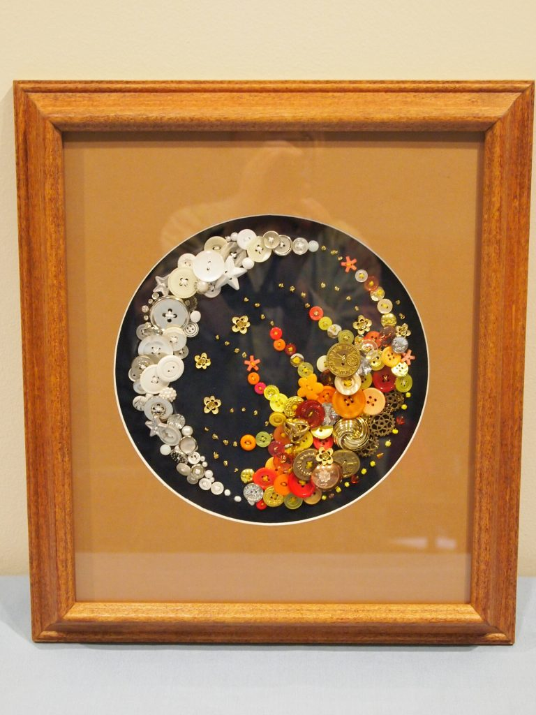 Celestial Button Art made by Marlys Sebasky, framing provided for by John Lauer, 2017 MCHS raffle prize.
