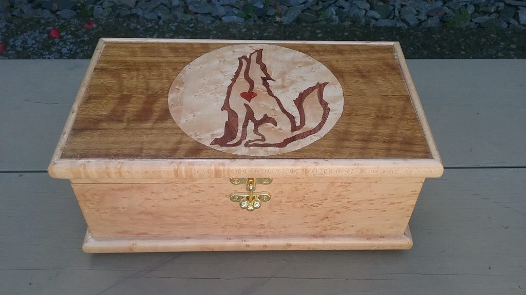 Marquetry box made by Lee Obermiller for MCHS's 2017 raffle.