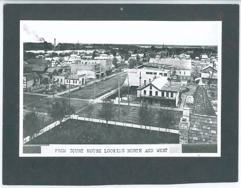 Look closely at this photo of the City of Little Falls taken from the Morrison County Courthouse looking northwest. Remnants of the ravine are apparent in the shot. It was taken prior to 1904/05. MCHS collection #0000.000.139.