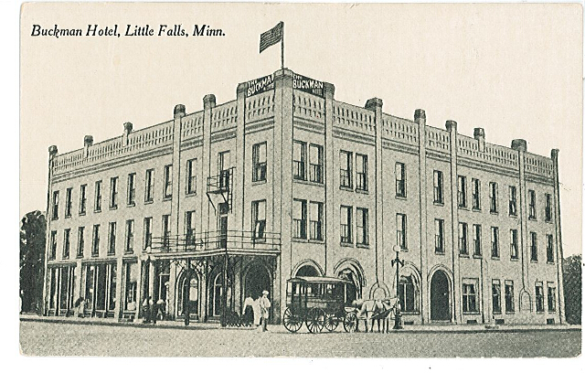 Buckman Hotel (above), Little Falls, MN, undated photo. #1994.10.1a.