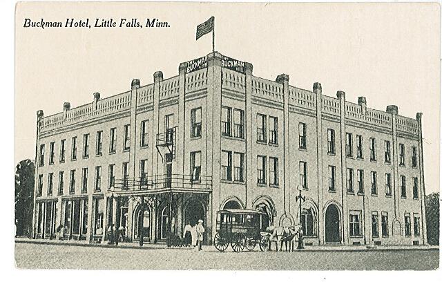 Buckman Hotel (above), Little Falls, MN, undated photo. #1994.10.1a.