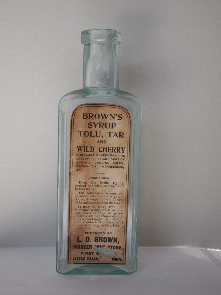 Brown's Syrup bottle, L.D. Brown Pioneer Drug Store, Little Falls, MN, photo by Rin Gaubatz, MCHS collections, #2016.070.0001.