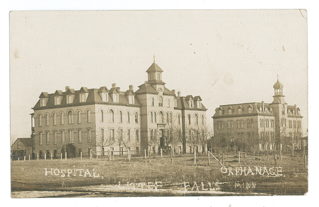 Hurrle Hall (left) and the orphanage (right), part of the Franciscan Sisters Convent in Little Falls, MN. Undated photo. #2016.17.
