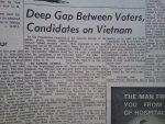 """Deep Gap Between Voters, Candidates on Vietnam"" - Headline from Little Falls Daily Transcript, September 4 1968"