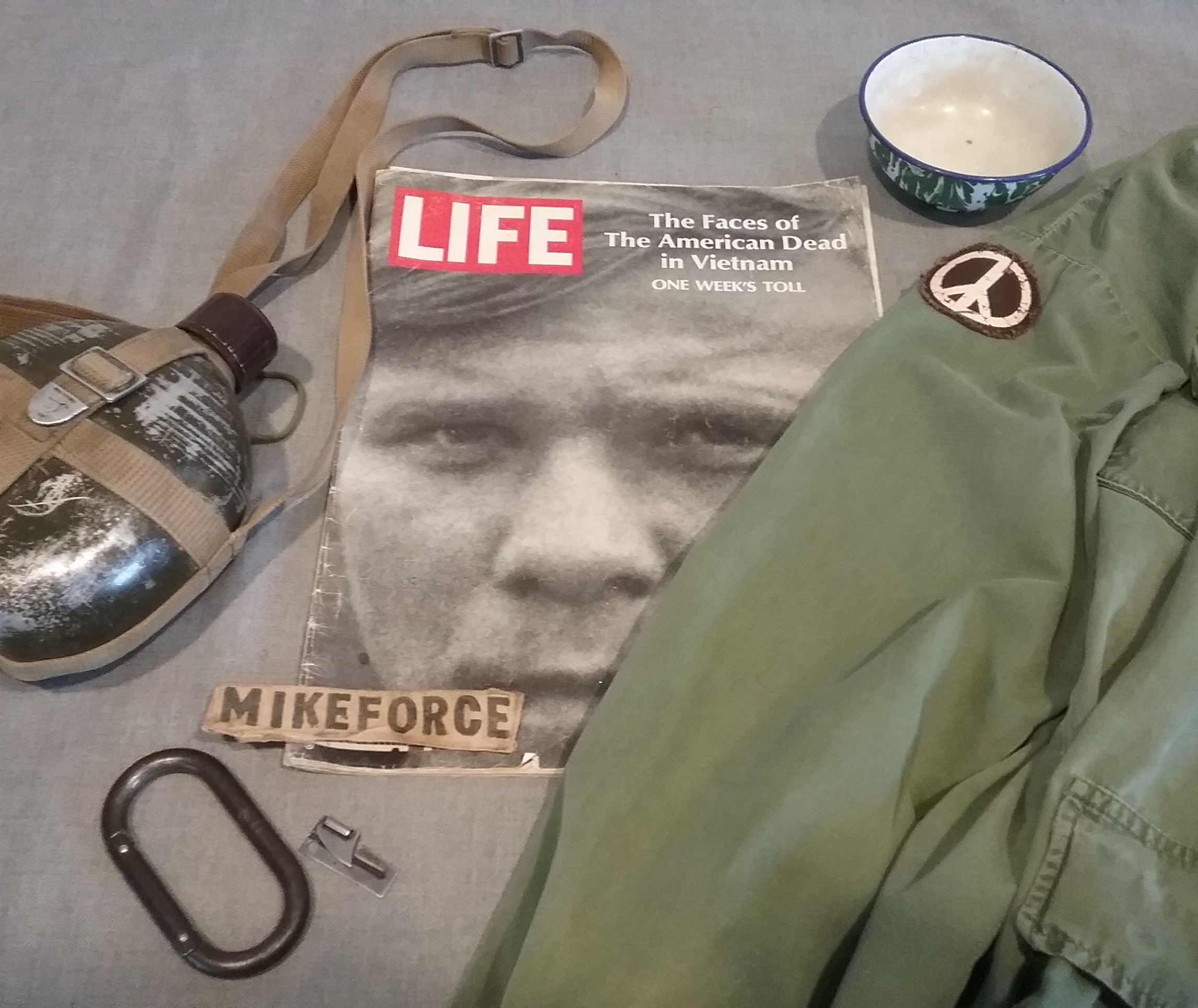 A selection of loaned artifacts for the Central Minnesota Remembers Vietnam exhibit, Morrison County Historical Society, 2018.