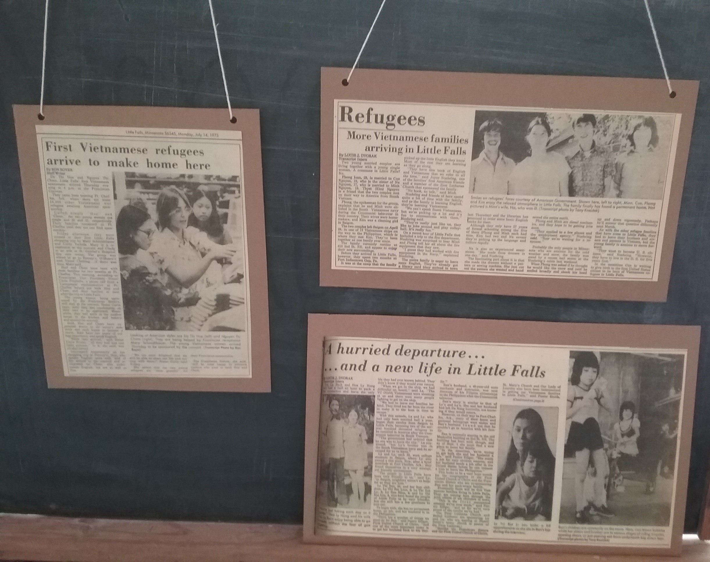 Articles regarding refugee resettlement in Little Falls, MN, after the Vietnam War, from the Little Falls Daily Transcript, 1975.