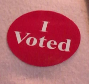 I Voted sticker, 2018.