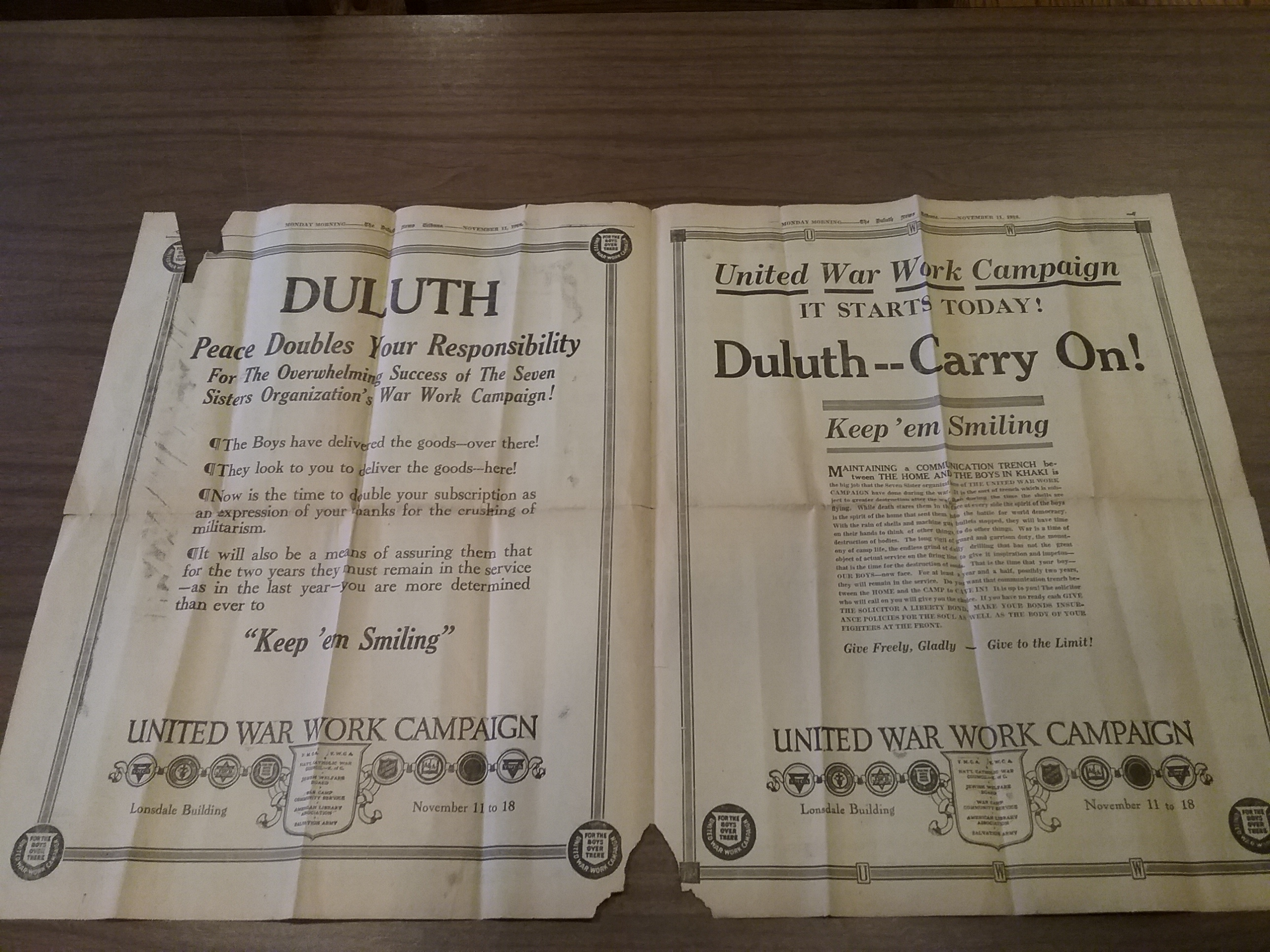 Armistice Day, November 11, 1918, announcement of the end of World War I from The Duluth News Tribune, pages 2 & 3.