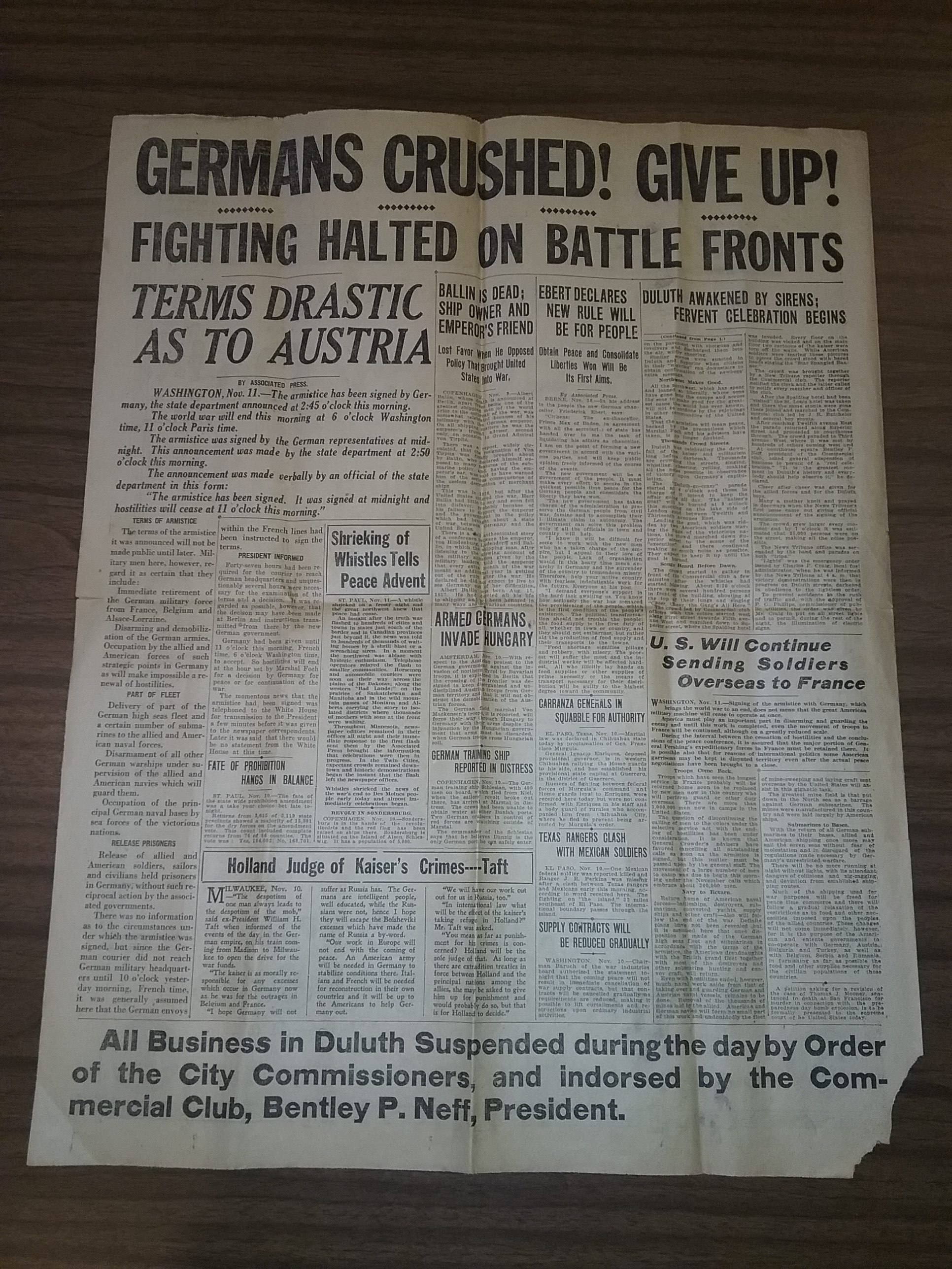 Armistice Day, November 11, 1918, announcement of the end of World War I from The Duluth News Tribune, page 4.