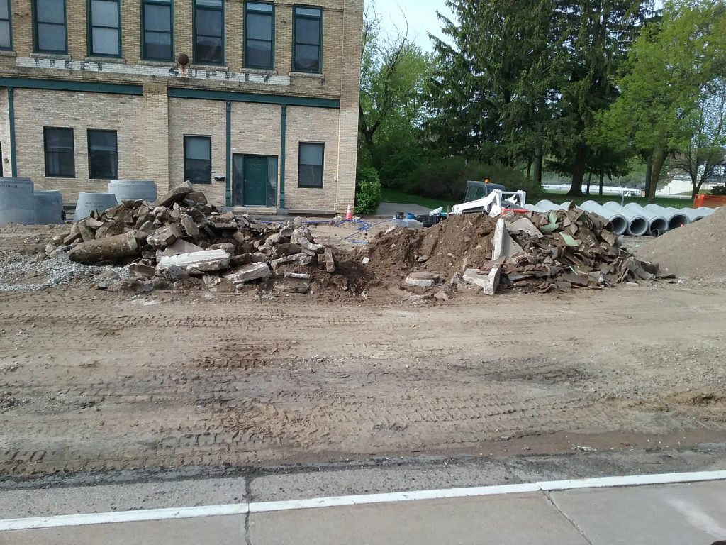 Road construction on East Broadway in front of the Post Office, Little Falls, MN, May 28, 2019.