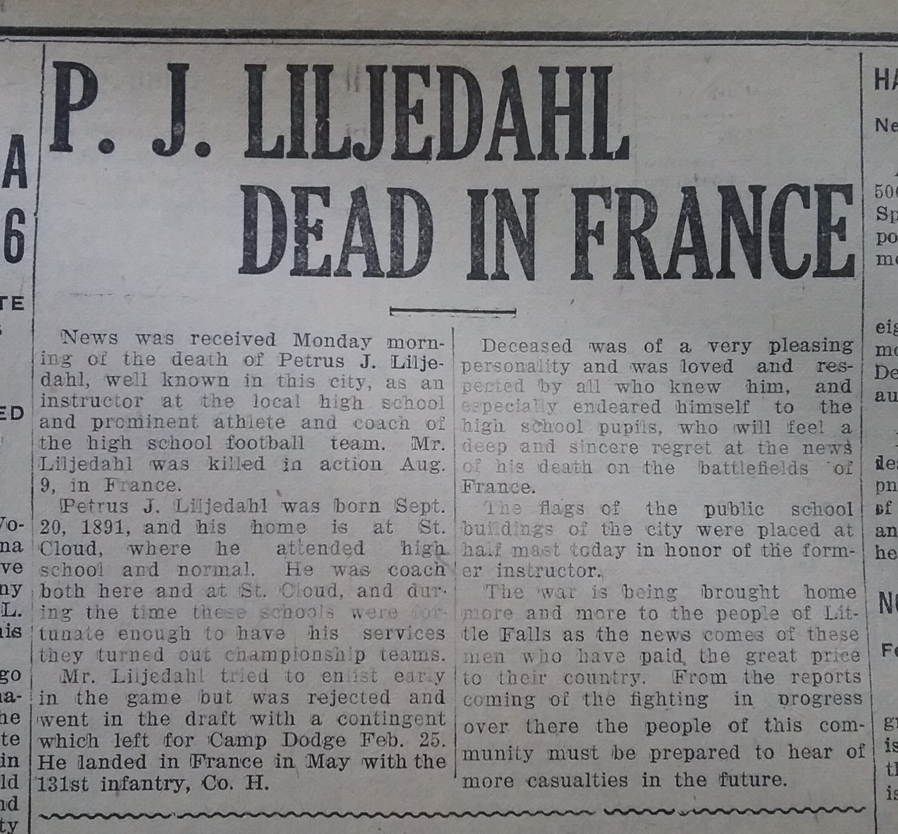 Announcement of Petrus Liljedahl's death from the Little Falls Daily Transcript, September 23, 1918.