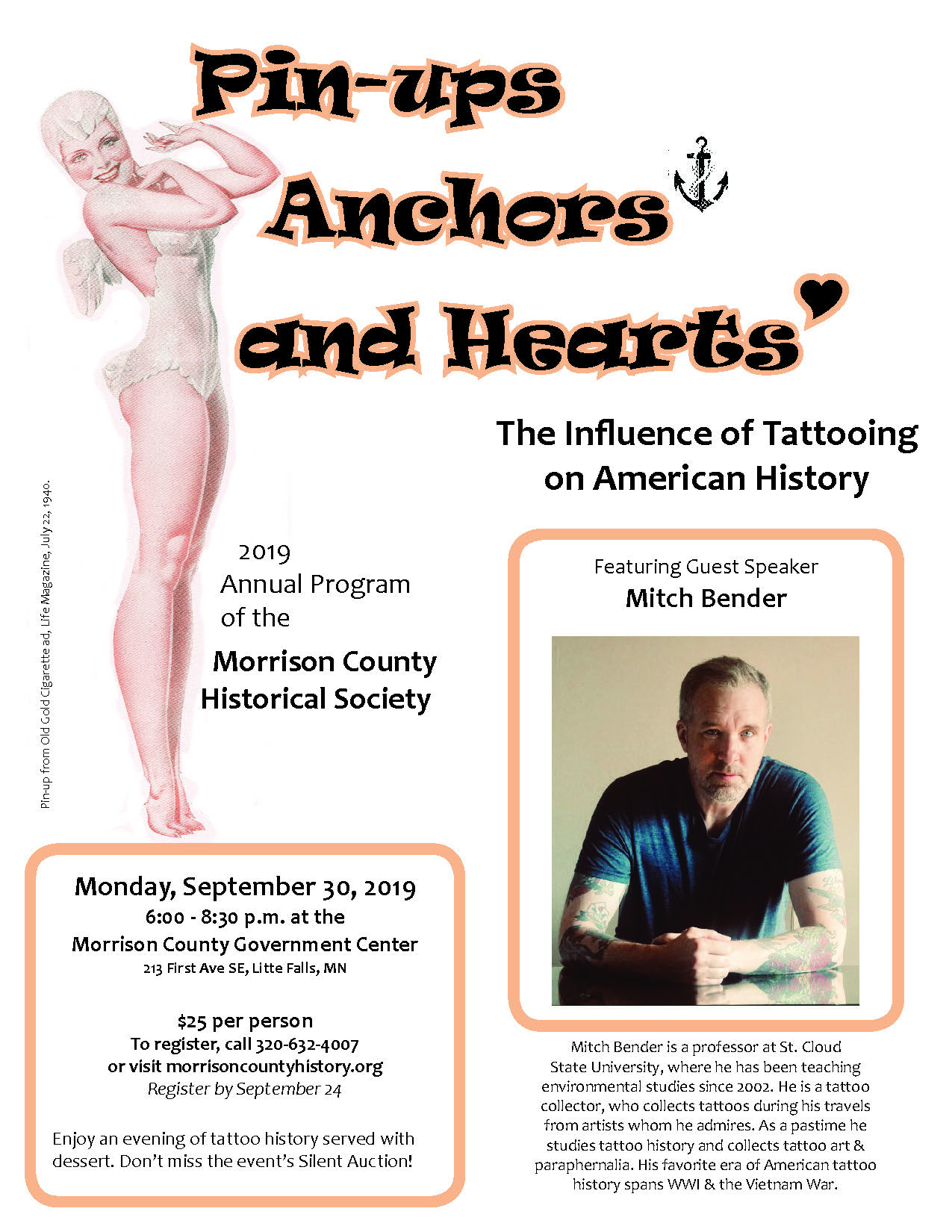 Flier for Morrison County Historical Society 2019 Annual Program, Pin-ups, Anchors and Hearts: The Influence of Tattooing on American History.