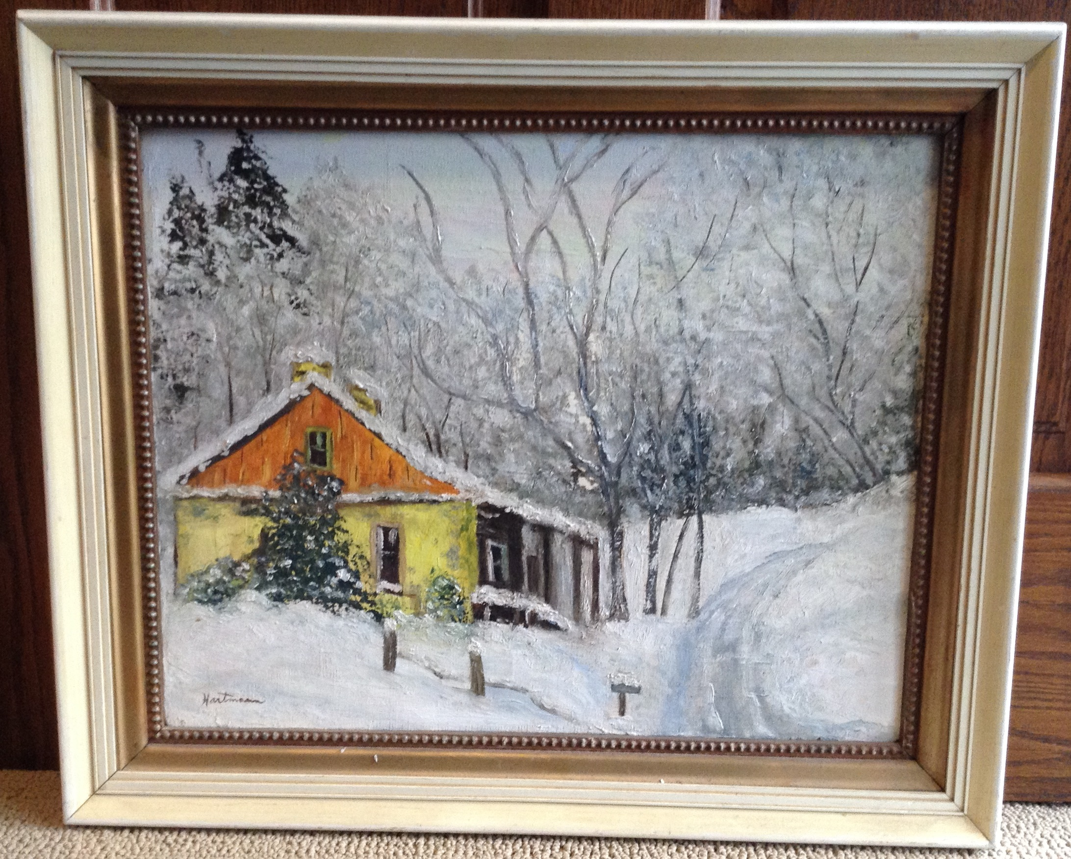 "Oil painting by Florence ""Dottie"" Boeder Hartmann for Artrain, August 3, 1975, Little Falls, MN. Won by M. Berger. Donated to MCHS by Audrey West, 2018."