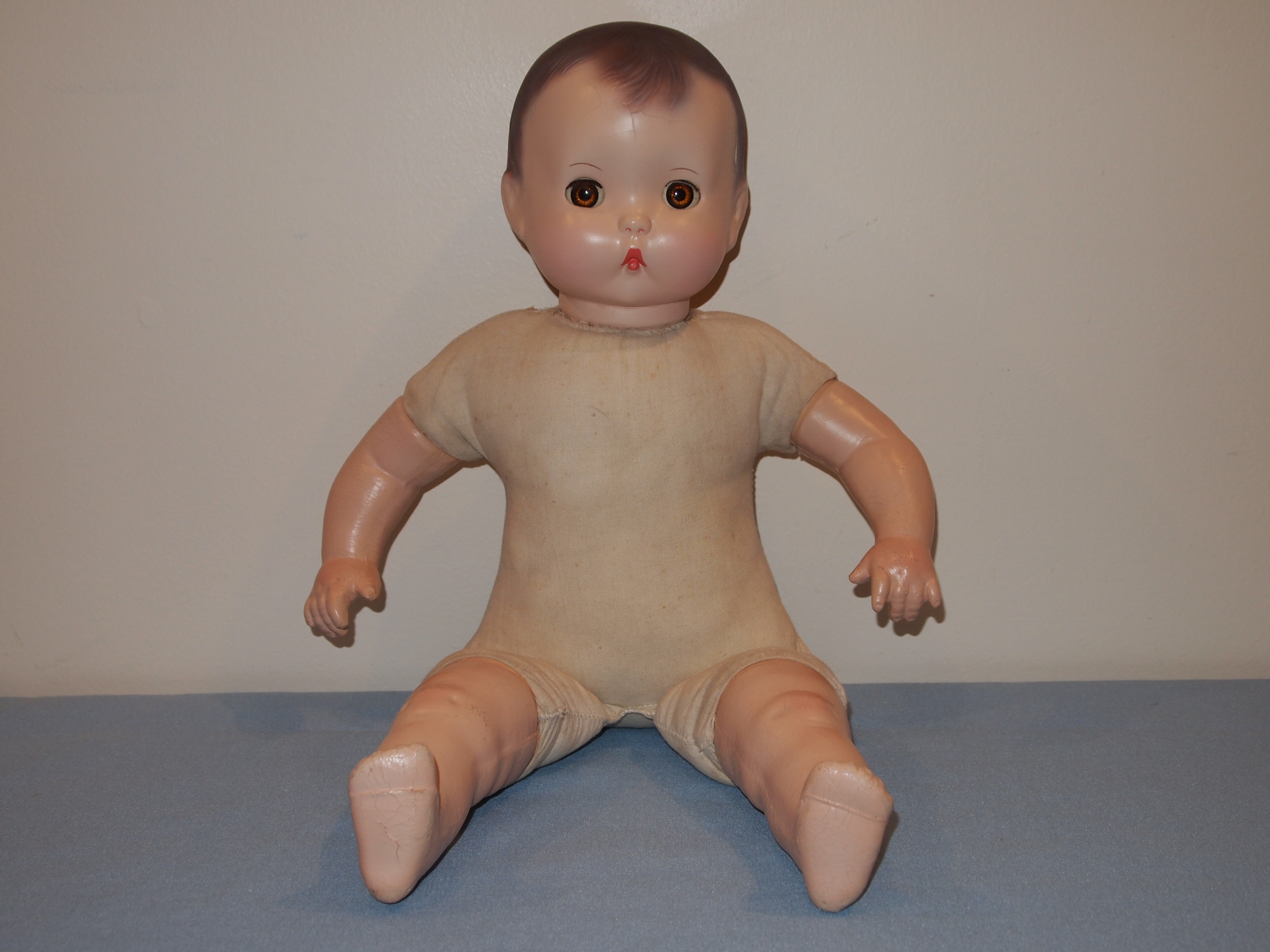 "E. I. Horsman Company ""Brother"" doll, 1937. Donated to MCHS collection by Marilyn (Nelson) Gerlach, #2014.43.3."