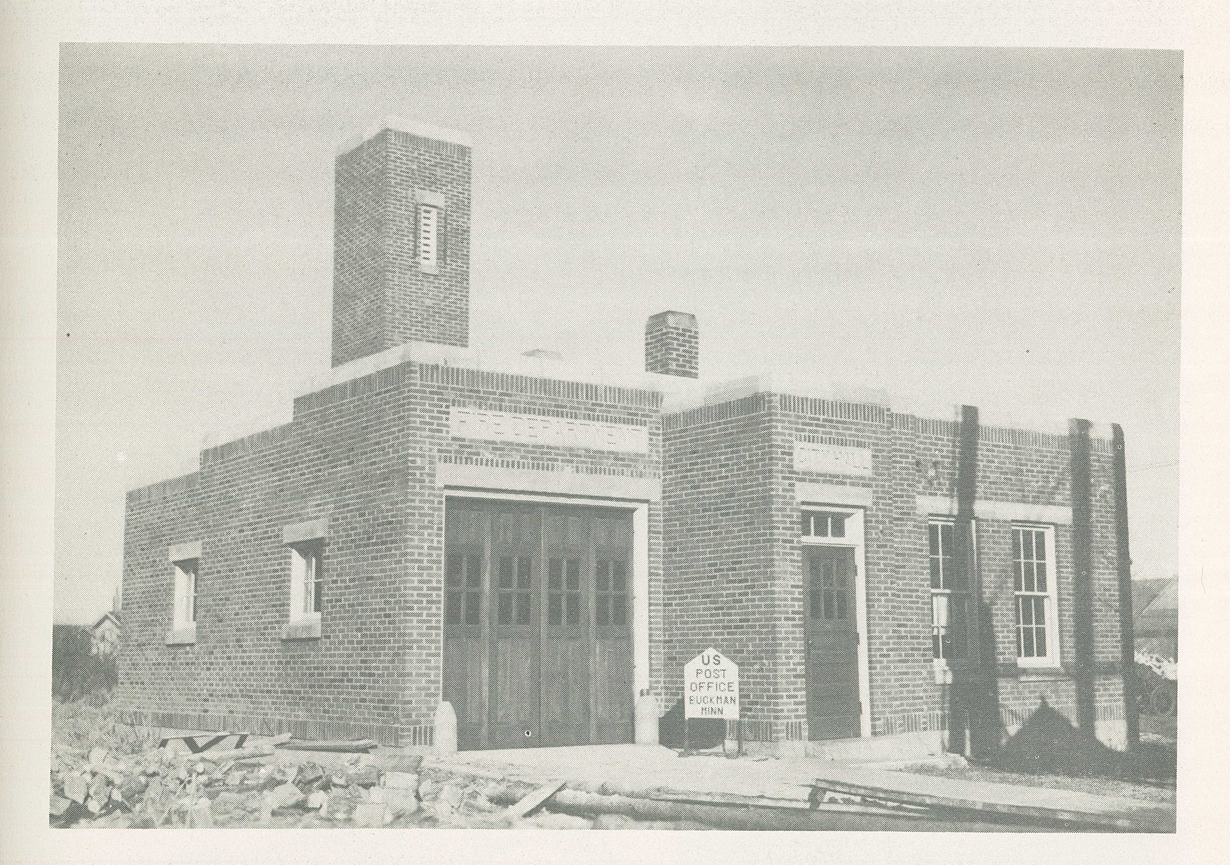 "Buckman City Hall, image from the book ""Works Progress Administration Accomplishments: Minnesota, 1935-1939,"" Works Progress Administration of Minnesota, Linus C. Glotzback, Administrator. #1977.44.1"