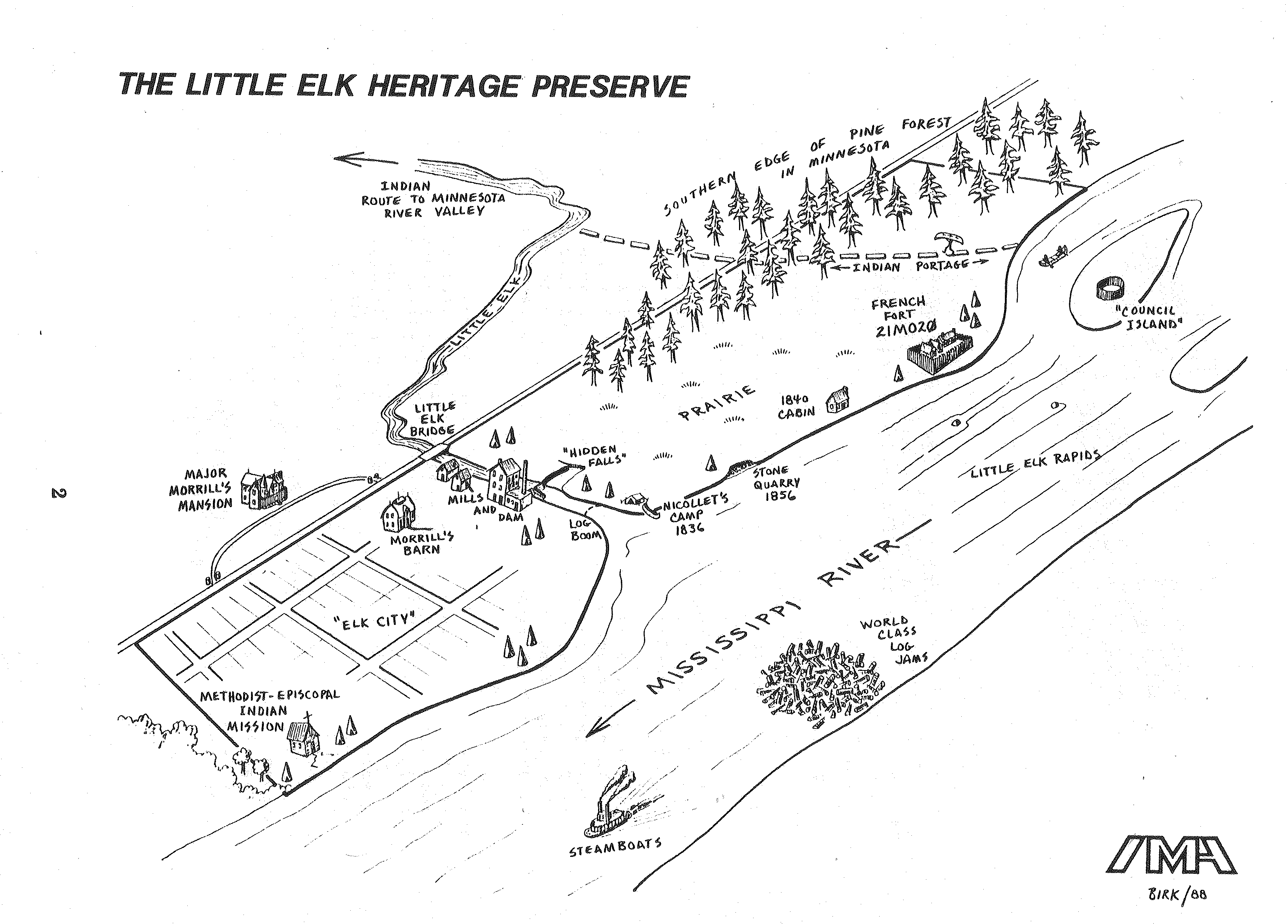 "Not only was Doug Birk a meticulous and innovative archaeologist, he created fascinating maps of sites and drawings of artifacts. Here is his drawing of the Little Elk Heritage Preserve, which is from ""Life, Land, Water, and Time: A Resource Book for the Little Elk Heritage Preserve,"" published by The Institute for Minnesota Archaeology in 1989. The quote regarding Doug's vision for LEHP that appears in the article below is from this publication, as well."