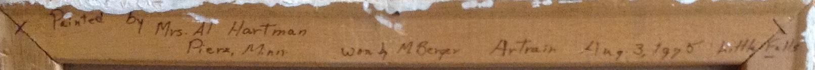 """Handwritten text on back of Florence """"Dottie"""" Boeder Hartmann's Artrain oil painting."""