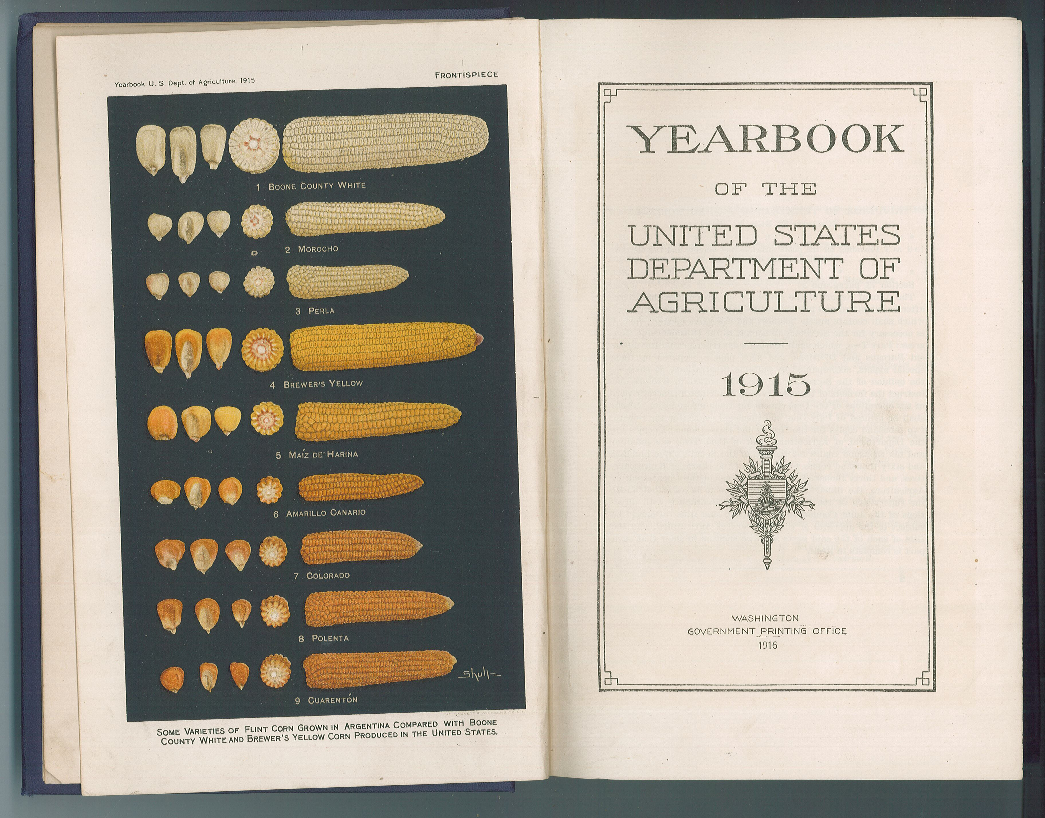 """Yearbook of the United States Department of Agriculture"" 1915, published by the Government Printing Office, Washington, D.C., 1916. The inside front cover of this book, which was donated by Verlaine M. Wright, is stamped ""C. A. Lindbergh, Representative, 6th Dist."" MCHS collections #2008.86.2."