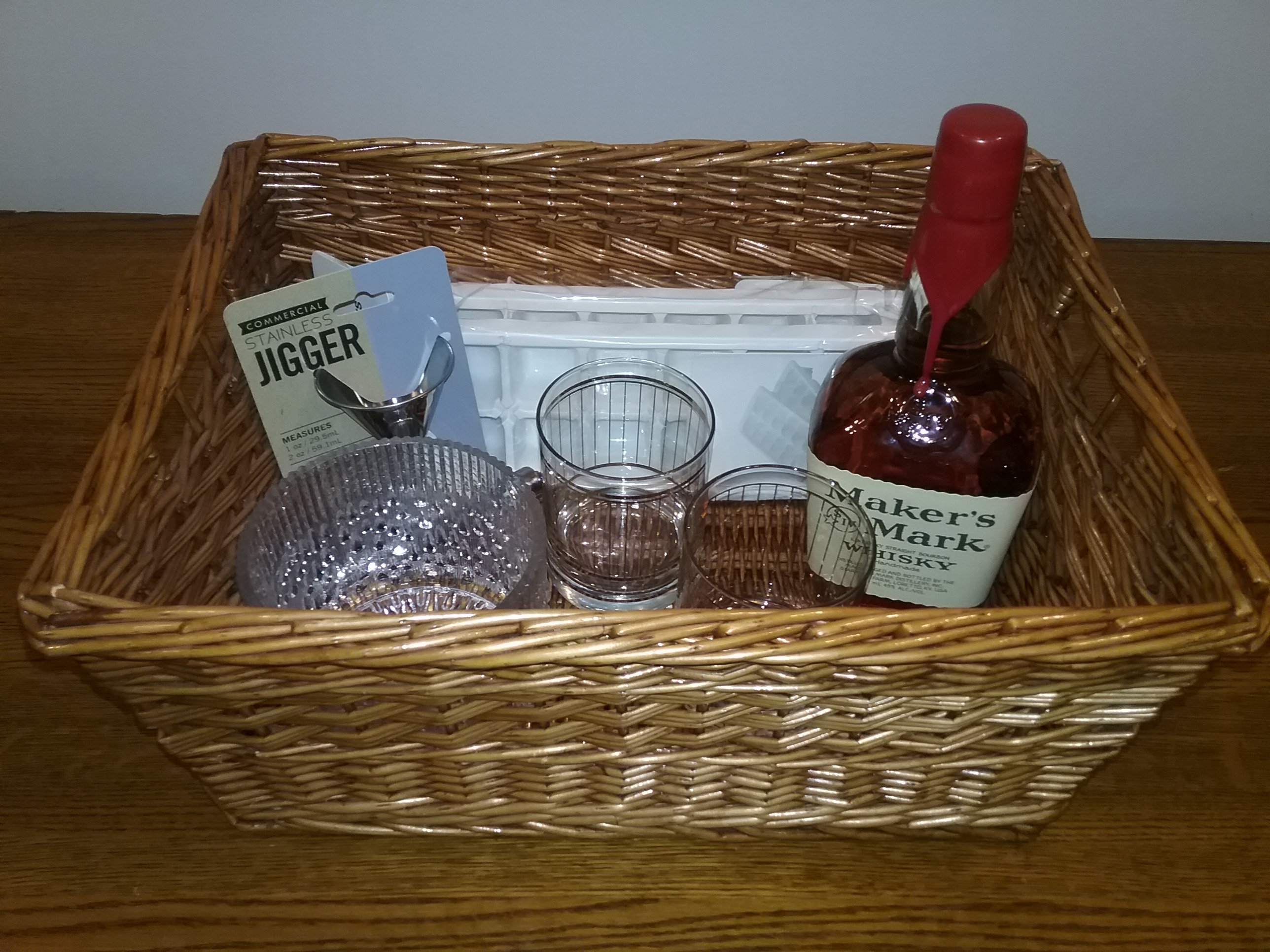 MCHS Silent Auction Item: Basket with 2 vintage Culver rocks glasses and Makers Mark whiskey.