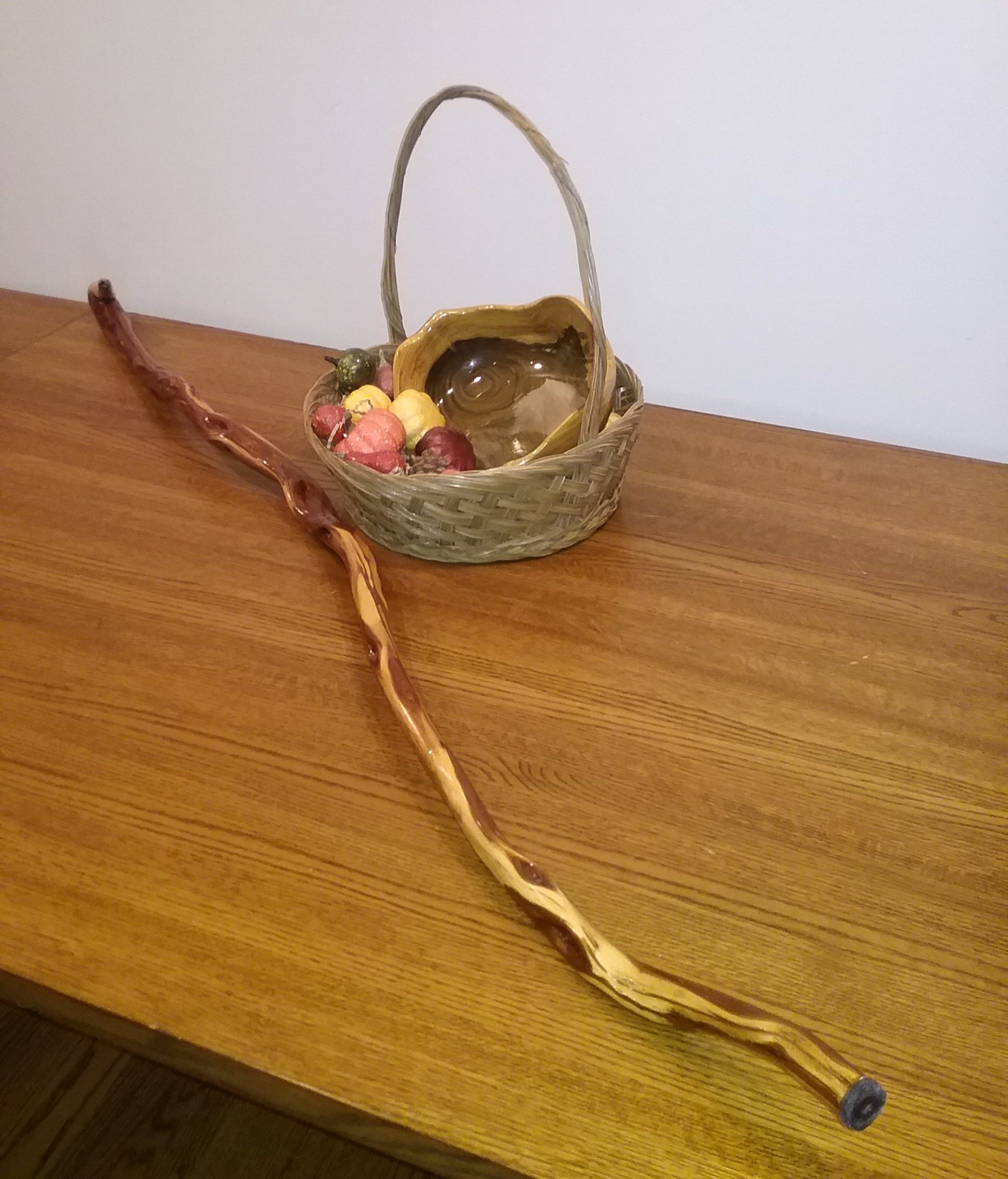 MCHS Silent Auction Item: Hand-turned wooden bowl and diamond willow walking stick.