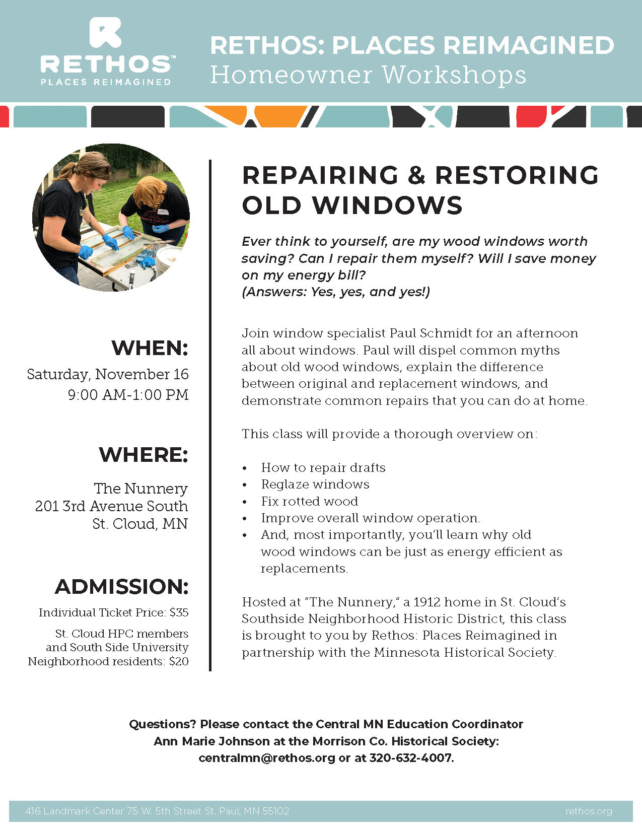 Flier for Repairing Old Windows class, November 16, 2019
