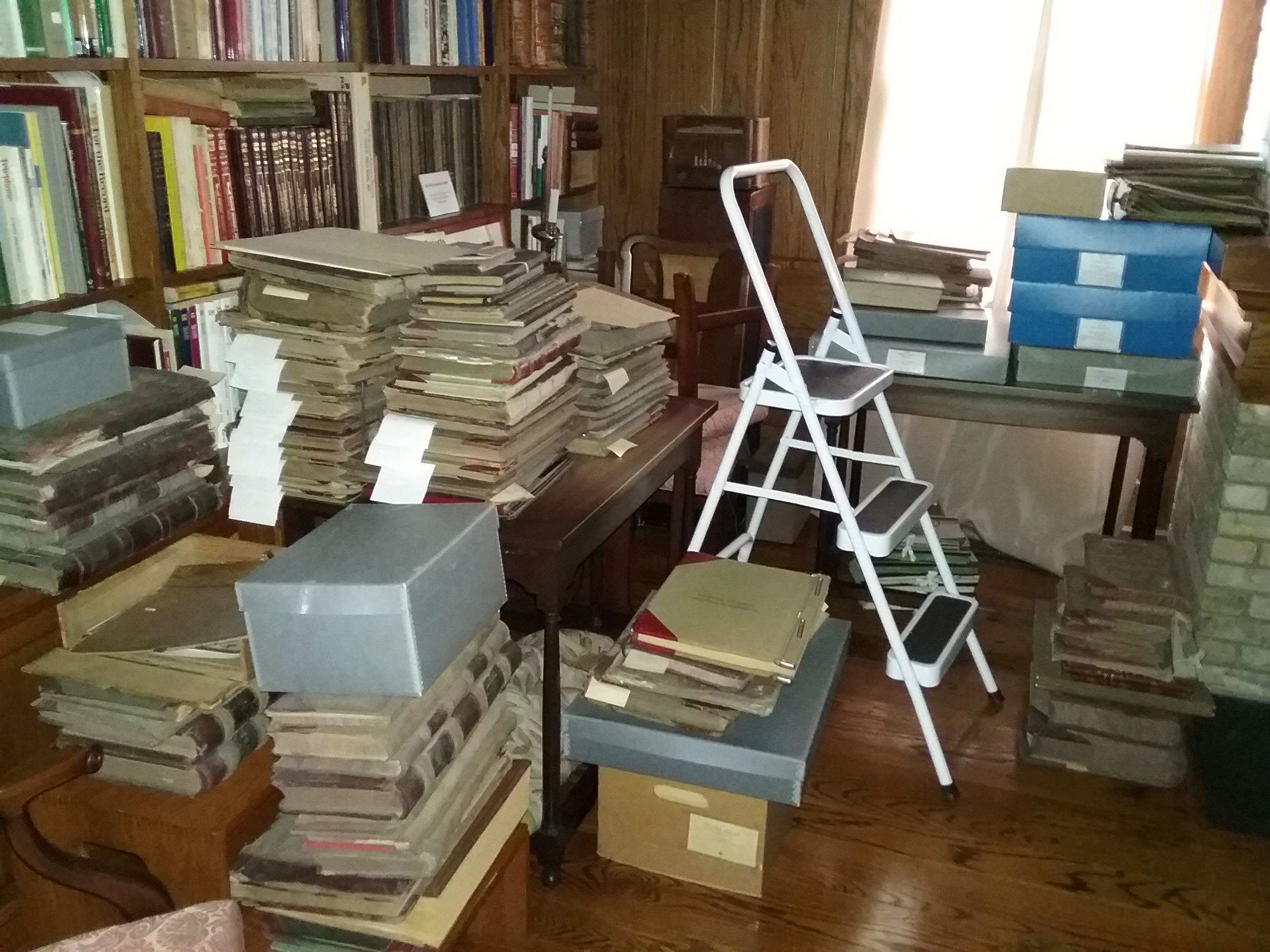 Musser Library at The Charles A. Weyerhaeuser Memorial Museum, Little Falls, MN, filled with archival materials, July 2019.