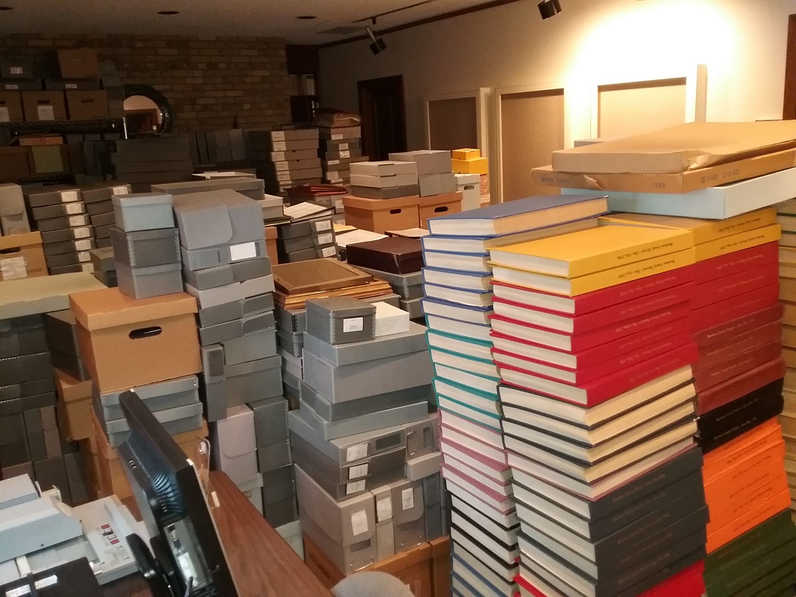 Rosenmeier Research Room at The Charles A. Weyerhaeuser Memorial Museum, Little Falls, MN, filled with archival materials due to mobile shelving project, November 13, 2019.