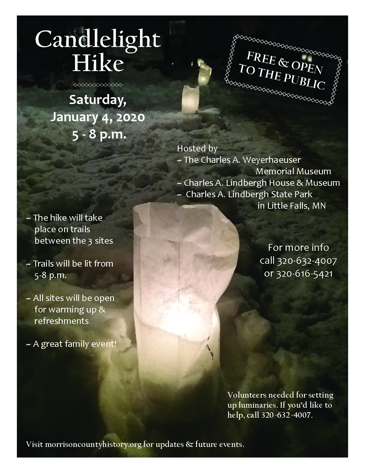 2020 Candlelight Hike flier.