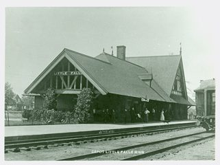 Northern Pacific Railroad Depot designed by Cass Gilbert, Little Falls, MN. MCHS Collections #1981.10.1