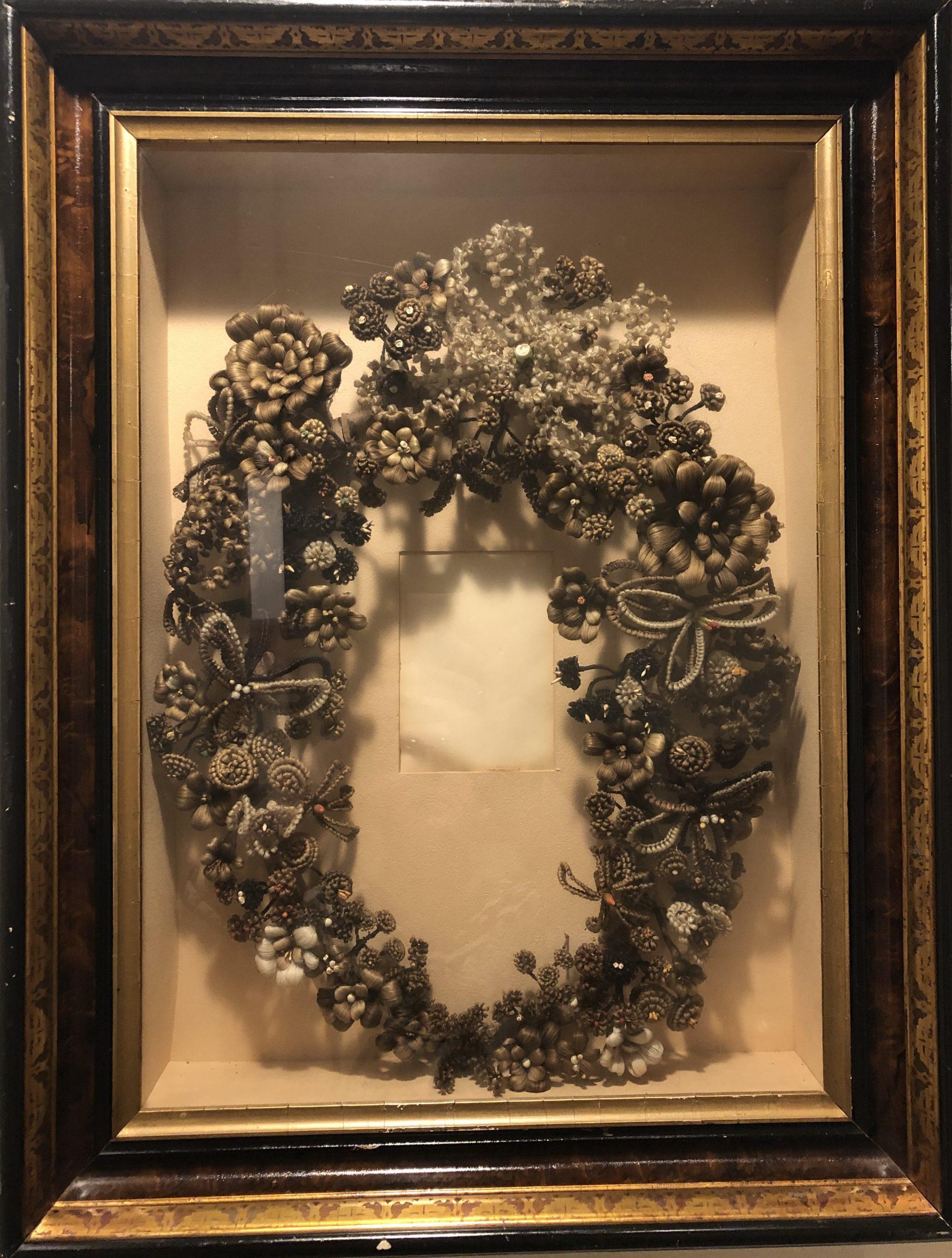 Memorial hairwork wreath on exhibit at The Charles A. Weyerhaeuser Memorial Museum, Little Falls, MN.