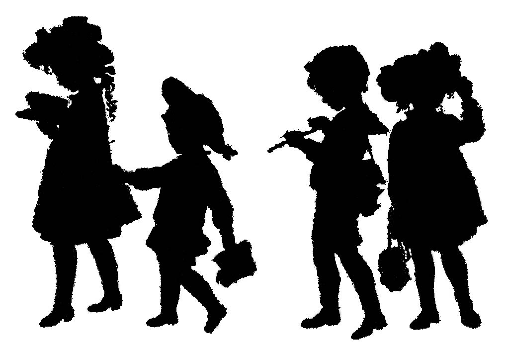 Silhouette of 4 children walking to school