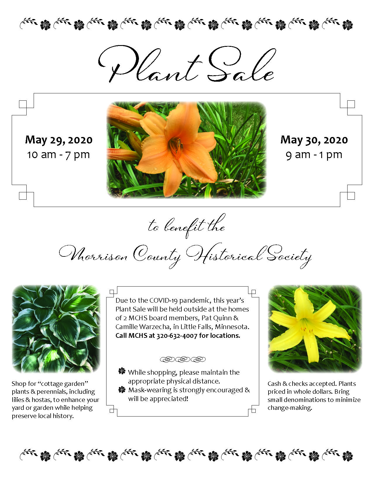 2020 Plant Sale flier, Morrison County Historical Society.