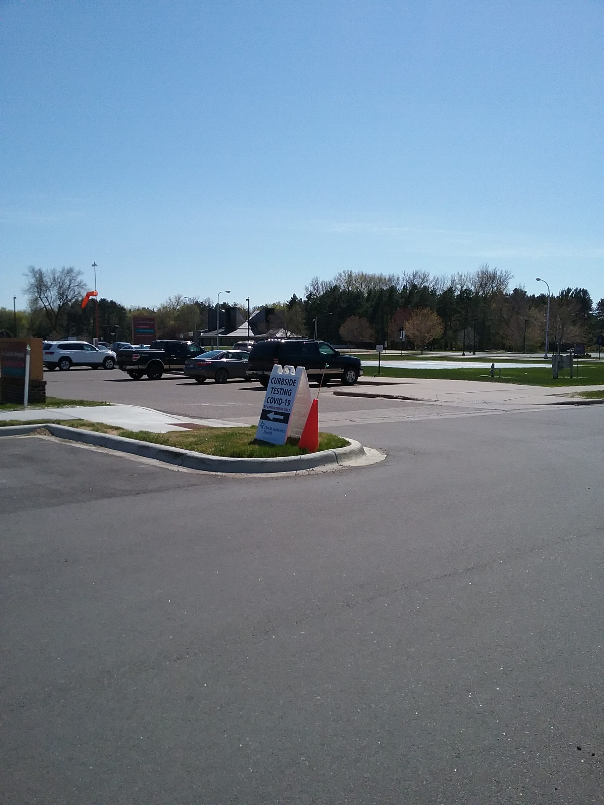 """Sign - """"Curbside Testing COVID-19 - By Appointment Only,"""" St. Gabriel's Hospital, Little Falls, MN, May 12, 2020."""