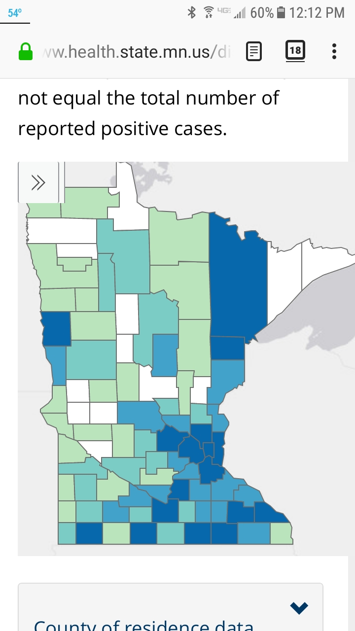 Screenshot, COVID-19 cases by county in the State of Minnesota, Minnesota Department of Health, April 18, 2020. Note that Morrison County in the center of the state appears in white, meaning no cases have been recorded. The Minnesota Department of Health updated its website daily at 11 a.m., with data current as of 4 p.m. the previous day.