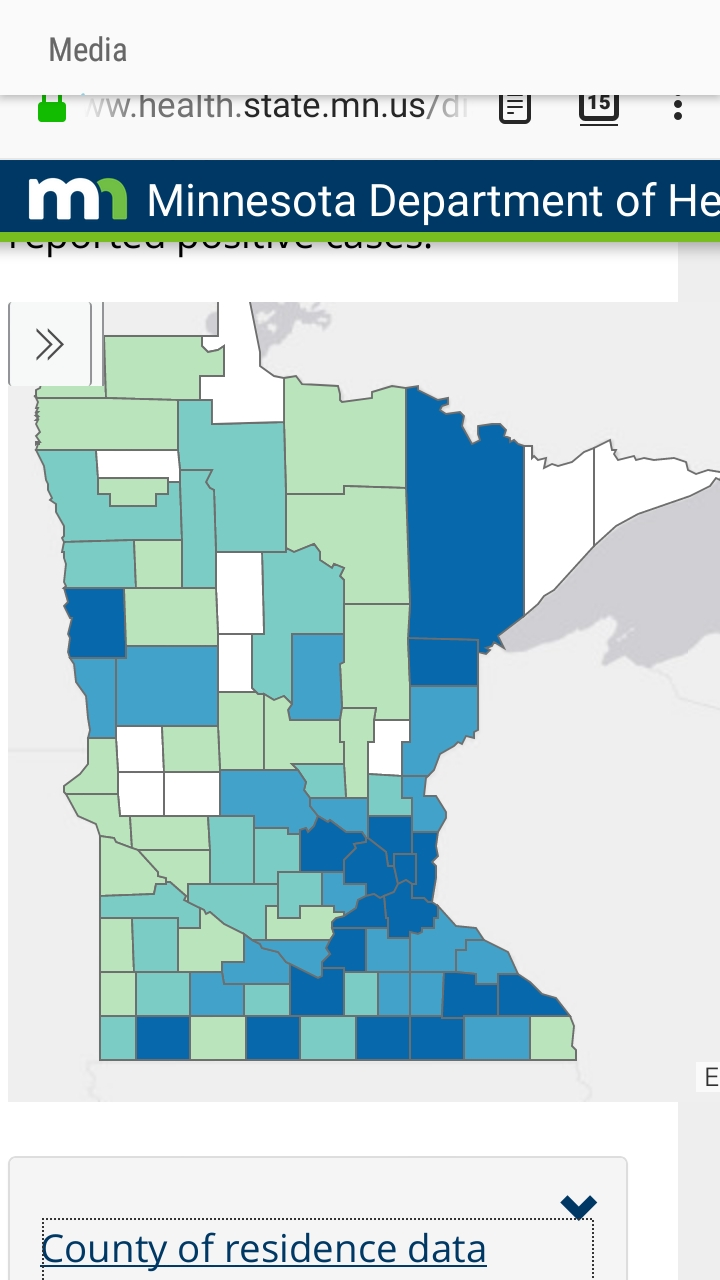 Screenshot, COVID-19 cases by county in the State of Minnesota, Minnesota Department of Health, April 20, 2020. Morrison County in the center of the state finally shows a case of COVID-19, which is indicated by its being a light green in color. The Minnesota Department of Health updated its website daily at 11 a.m., with data current as of 4 p.m. the previous day.