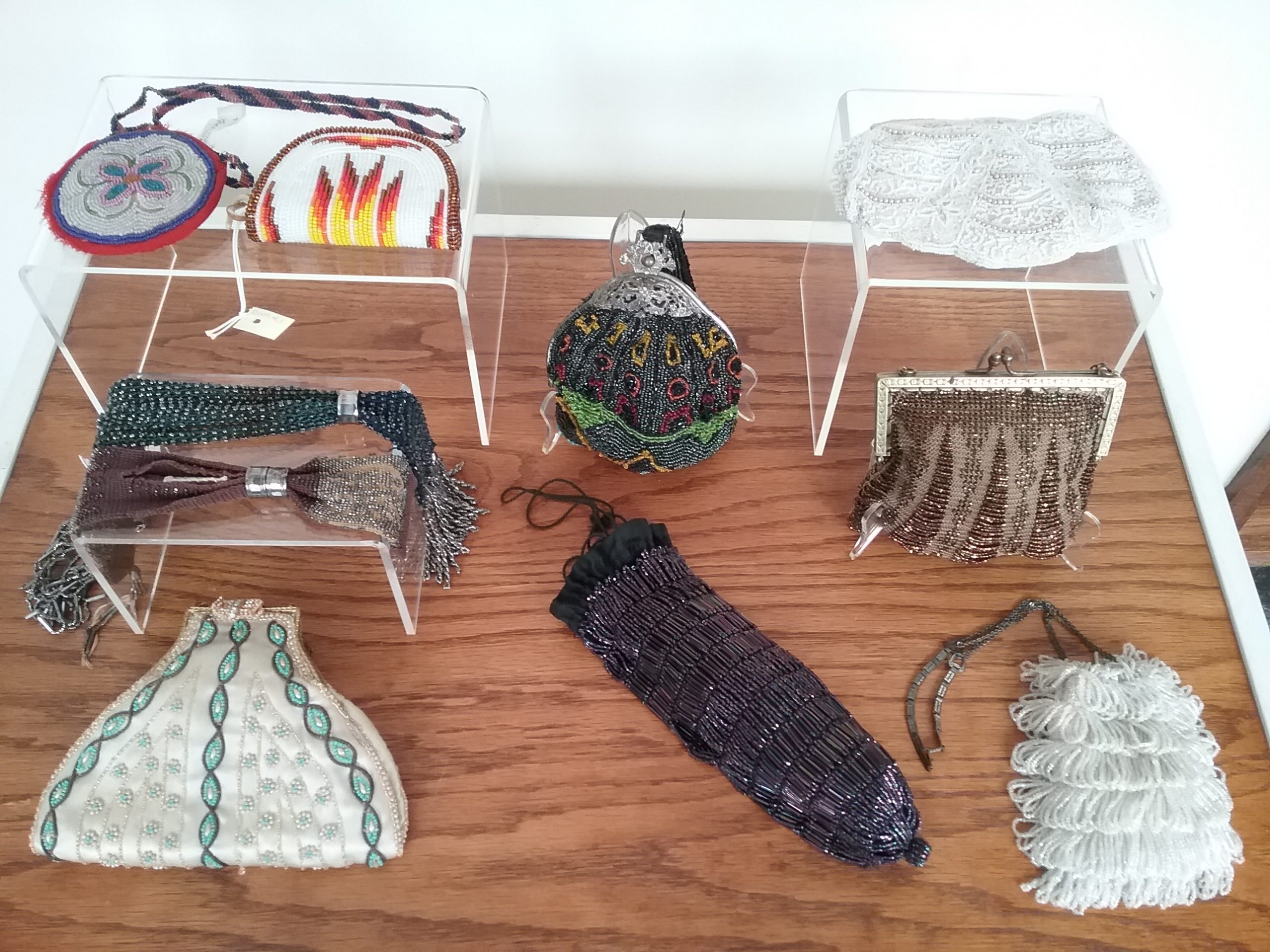 Case of beaded purses for BEAD Exhibit at The Charles A. Weyerhaeuser Memorial Museum, Little Falls, MN, 2020.