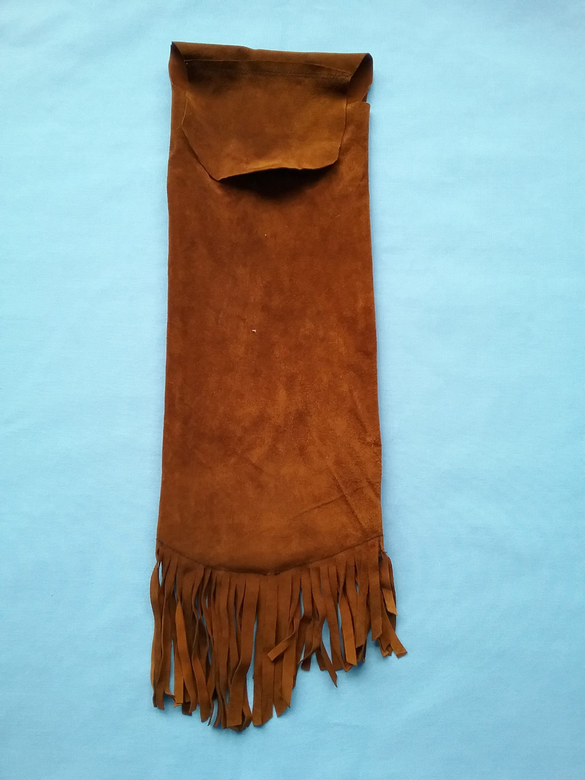 Back of beaded leather bag made by Sister Carol Schmit, OSF. On loan for the BEAD Exhibit from Sr. Carol Schmit.
