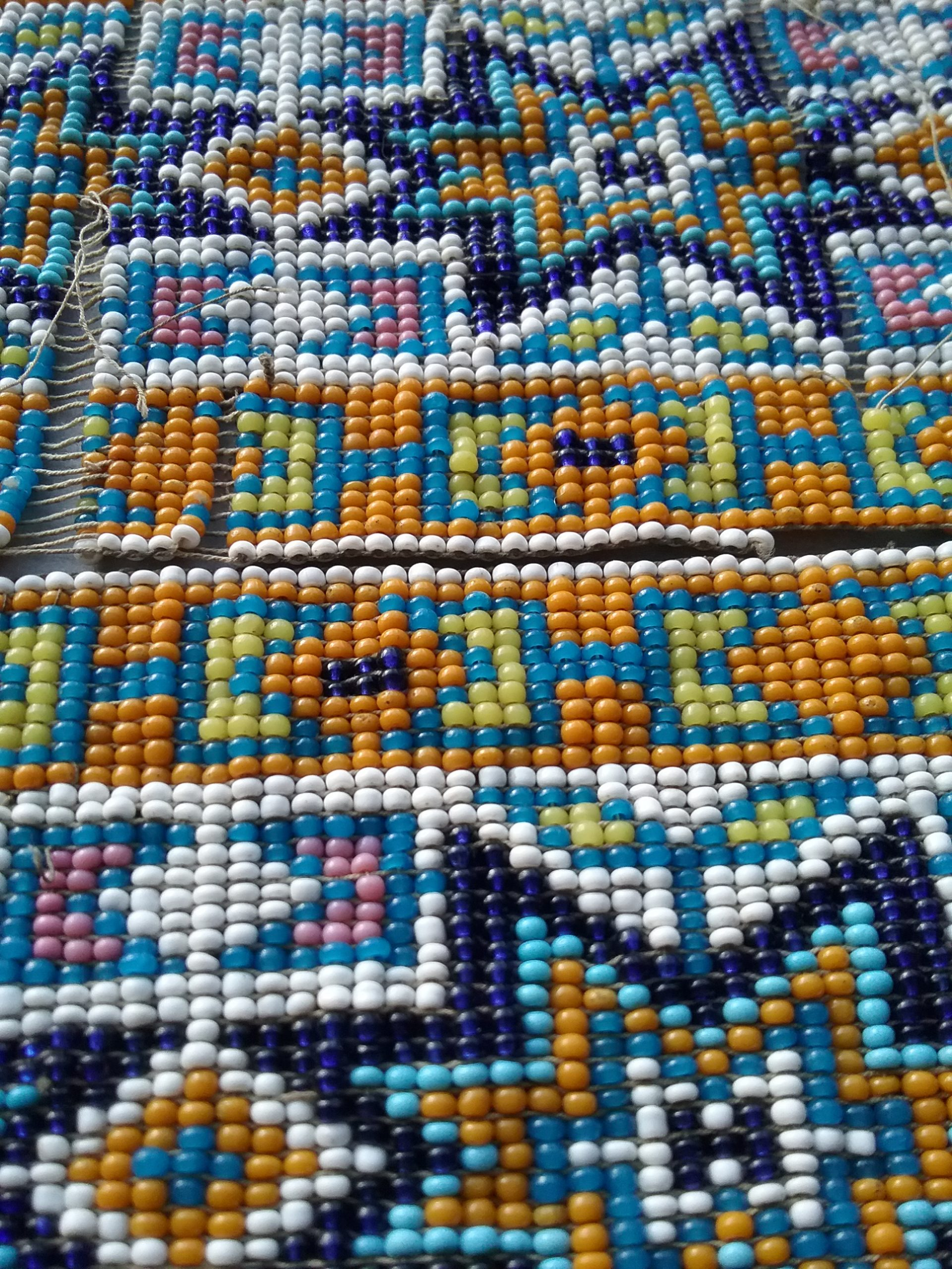 Detail of Ojibwe beaded leg bands presented to Nathan Richardson. MCHS collections, # 1940.42.12a&b.