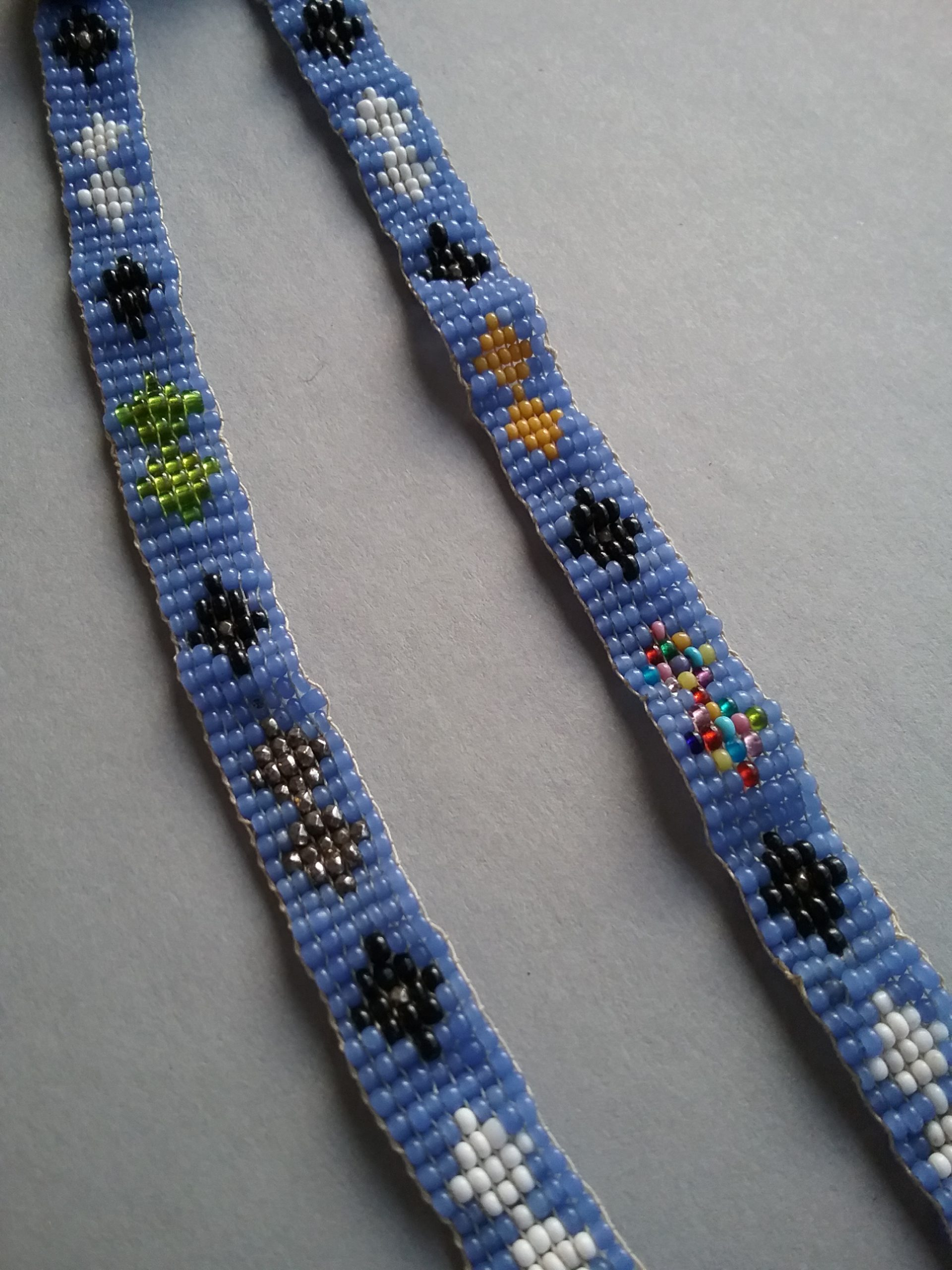 Narrow loom-woven band of beads featuring a light blue background with diamond patterns in various colors from the Hill & Richardson store operated in the 1870s by E.G. Hill and Nathan Richardson. Likely of Ojibwe origin. MCHS collections, #1945.76.