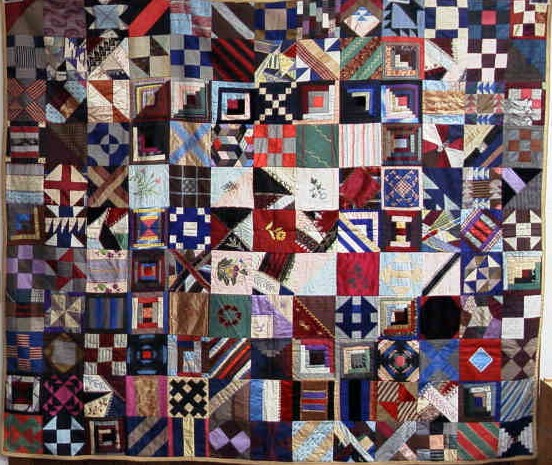 Episcopal Church Guild Crazy Quilt, 1880, owned by Mary Jane Simmons Tanner and Lottie Lee Tanner Martin, Morrison County Historical Society collections #2001.59.1.
