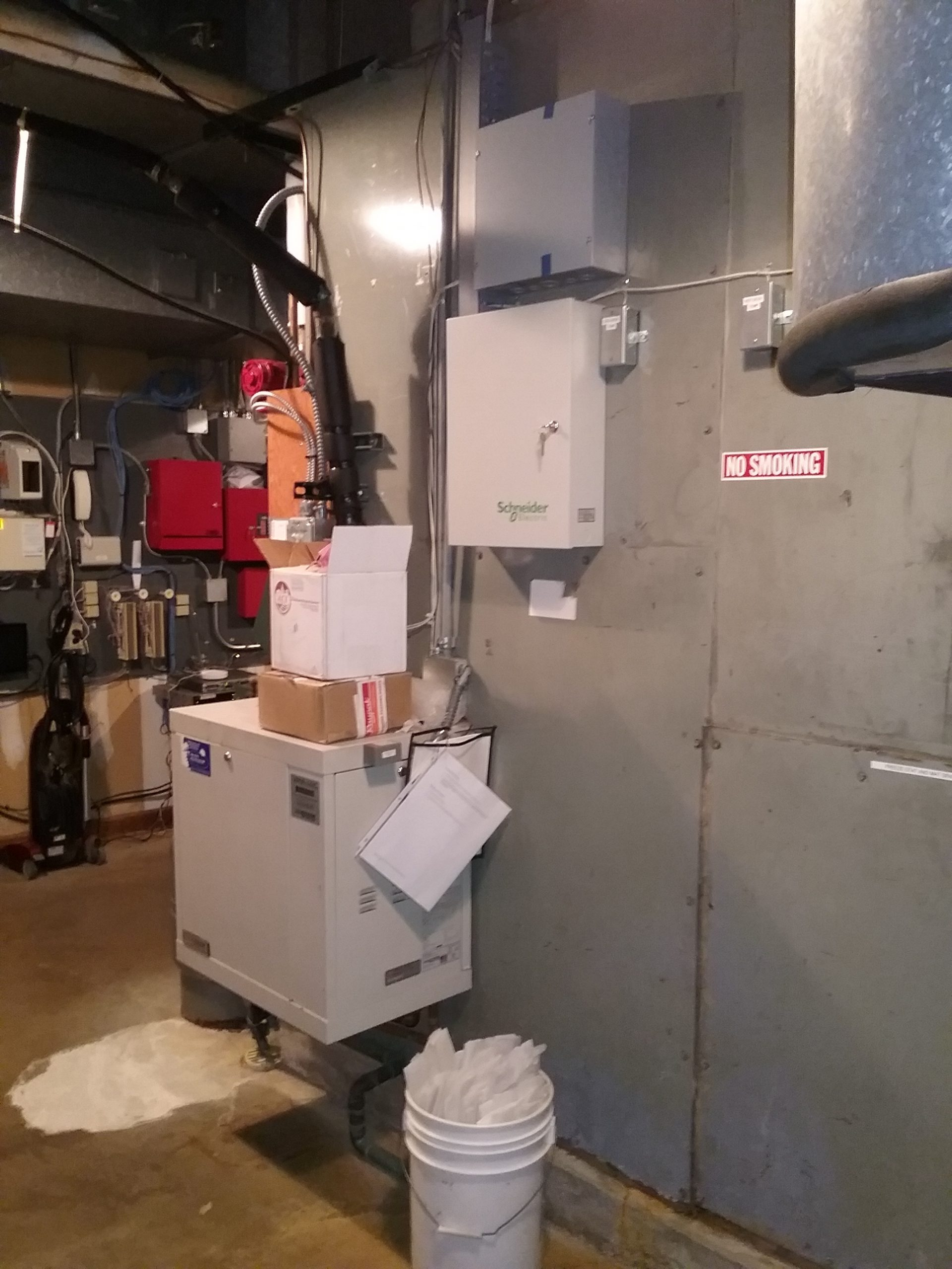 Air handler, humidifier, and control panel, Weyerhaeuser Museum's HVAC system, October 2020.