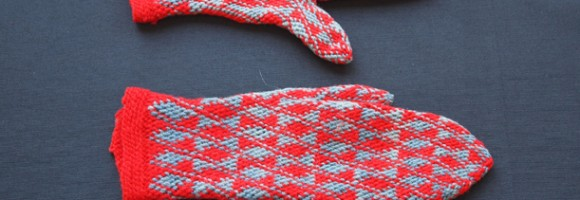 Red & Grey Knitted Mittens - MCHS Collections, #1953.31.5 a&b