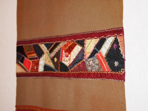 Crazy quilt on table runner - MCHS Collections, #1971.10.28