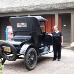 Donna Larsen with Andy Staricka's Ford Roadster, Heirloom Arts Day, June 8, 2013, Weyerhaeuser Museum
