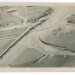 Aerial view of Highway 371 washout, 1972 Flood, Morrison County, Minnesota. Photo by Gene Dubois for the Little Falls Daily Transcript. From the Morrison County Historical Society collections.