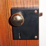 Doorknob and box lock on interior door at The Charles A. Weyerhaeuser Memorial Museum.