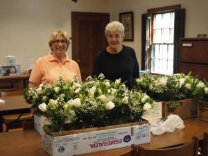 Weyerhaeuser Museum - 40th anniversary - August 2015 - Pat Quinn and Camille Warzecha prepping centerpiece flowers.
