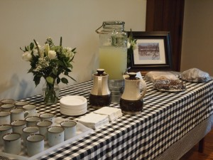 Weyerhaeuser Museum - 40th anniversary - August 2015 - The refreshment table at the museum. The photo on display was provided by Ren Holland.